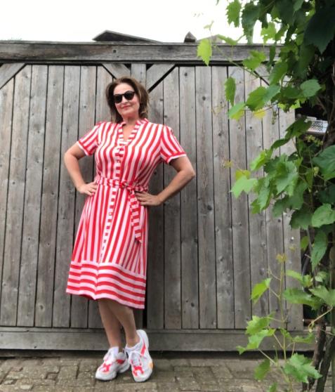 rood/roze streepjurk Summum Woman