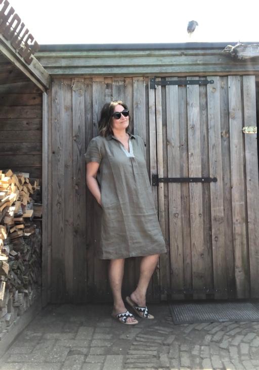 linnen jurk kaki La Fée Maraboutée